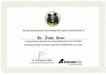 Ecco il certificato di Adozione per Mama.
